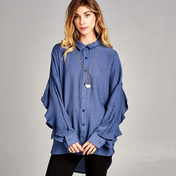 Ruffle Slit Sleeve Button Down