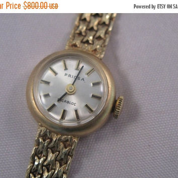Easter Sale Vintage Swiss Priosa 14k gold 17 jewels incabloc ladies watch - wristwatch - Christmas Gift - Gift for Her