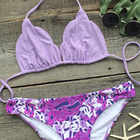 Cupshe Make Your Point Printing Halter Bikini Set