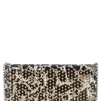 Christian Louboutin 'Loubiposh - Stone Print' Spiked Calfskin Leather Clutch | Nordstr