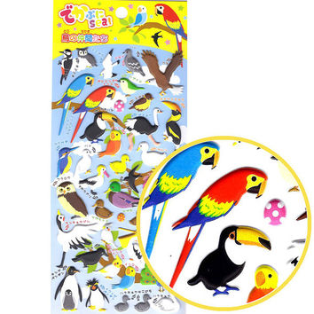 Mixed Birds Owl Flamingo Penguin Parrot Puffy Stickers | Cute Tropical Birds Animal Themed Scrapbook Decorating Supplies
