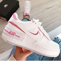 NIKE AIR FORCE 1 SHADOW AF1 New Women Casual Sport Running Shoes Sneakers White&Pink