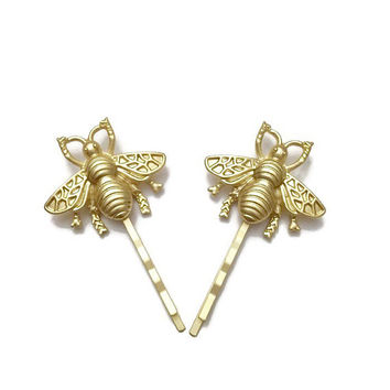 Bumble Bee Hair Pins Gold Hair Pins Gold Bobby by IrisandAthena