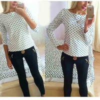 SIMPLE - Chiffon Women Sports Hoodies Long Sleeve Round Necked Polka Dot Shirt blouse b4282