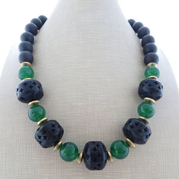 Black wooden necklace, green jade necklace, chunky necklace, onyx necklace, beaded necklace, big bold necklace, exotic summer jewelry