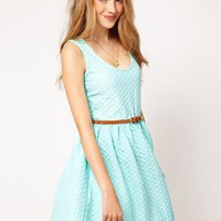 ASOS Sleeveless Skater Dress In Texture With Belt at asos.com