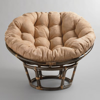 Khaki Microsuede Papasan Chair Cushion