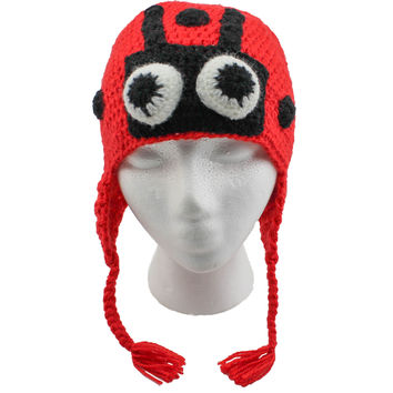 Ladybug Beanie, Hand Knitted Animal Hats For Winter (unisex, one size fits all)