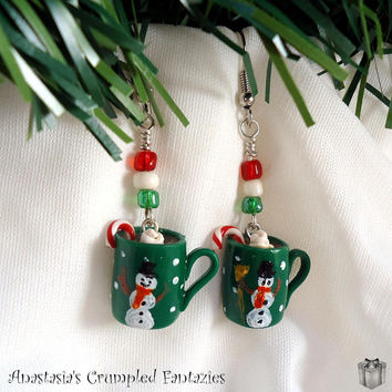 Green hot chocolate cup Christmas earrings, Mini coffee mug polymer clay fimo, Miniature food xmas stocking filler gift, Kawaii charm
