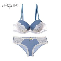 New spell color bra sexy lace bra sets sexy embroidery push up bra and panties for women underwear set size 70-85