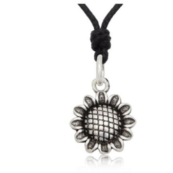 Lovely Sunflower 92.5 Sterling Silver Charm Necklace Pendant Jewelry With Cotton Cord