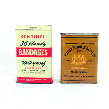 1950s Tin Cans Set of Two Advertising  Sentinel Waterproof Bandages And Phillip Morris Tobacco Tin Vintage Collectible Gift Item 1735F