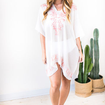 Vitamin D Embroider Cover Up - Peach
