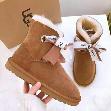 """UGG"" Winter Fashionable Women Warm Bowknot Wool Snow Boots Brown"