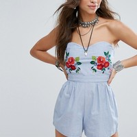 Glamorous Strapless Romper With Floral Embroidery at asos.com
