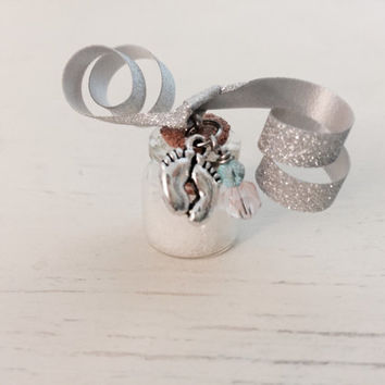 Baby Dust, Infertility, Awareness, TTC, White Glitter, Baby Feet Charm