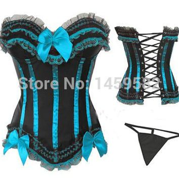 free shipping pp instyles Bow Corset  Bustier 8068 Sexy Lingerie S M L XL 2X 3X 4X 5X 6X plus size corsets