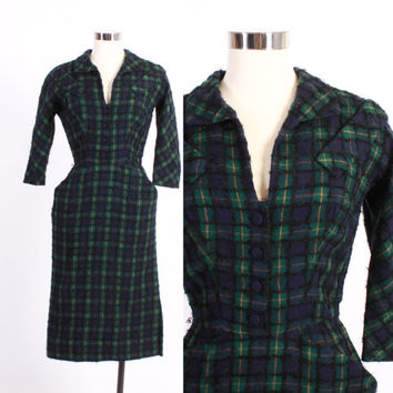 Vintage 50s DRESS / 1950s Tartan PLAID Navy & Green Boucle Wool Wiggle Dress xs - s