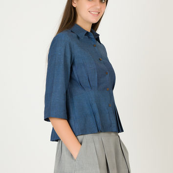 Denim Peplum Buttoned Shirt | Organic Cotton Top For Women