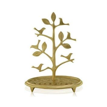 Brass Hanukkah Menorah with Tree and Bird Design from Shraga Landesman