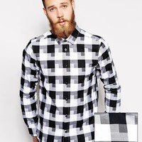 ASOS Smart Shirt In Long Sleeve With Dobby Check at asos.com