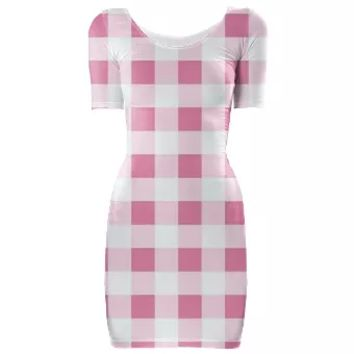 PETAL PINK GINGHAM Bodycon Dress