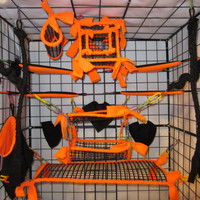 15 pc MESH Sugar Glider Cage Set - Rat - Orange