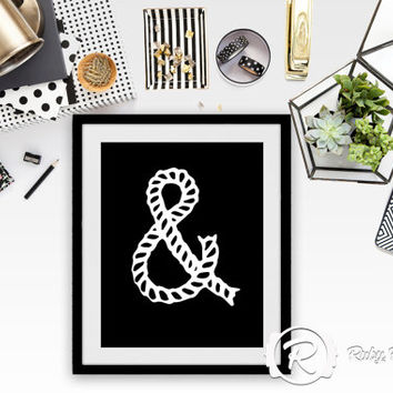Rope Ampersand Typographic Wall Print - White on Black, Printable Art Wall Decor - INSTANT DOWNLOAD