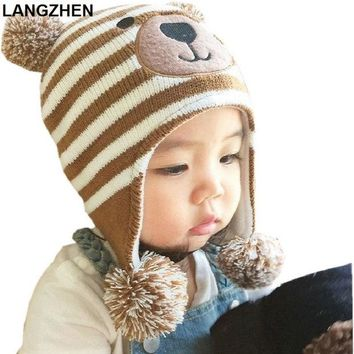 DCCKL3Z 2017 New LANGZHEN Baby Hats 3 Sizes 1-5 Years Boys Girls Hats Kids Winter Hats Bonnet Enfant Hat For Children Baby Muts KF039