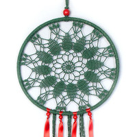 Large Green Red Dream Catcher, Crochet Doily Dreamcatcher, boho dreamcatchers, wall hanging, wall decor, Christmas decorations, handmade