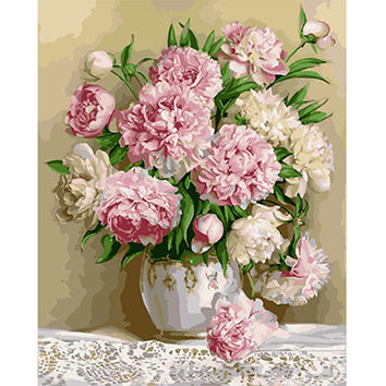 Diy oil on canvas painting wall art home decor pictures Painting by numbers cuadros decoracion 40*30cm Peony pomegranate