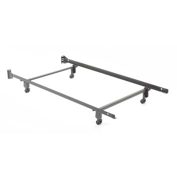 Twin Size Metal Bed Frame With Casters & Headboard Brackets