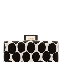 Lanvin Ivory And Black Spotted Box Clutch