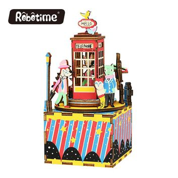 Free Shipping Robotime 3D Puzzle DIY Educational Wedding Souvenirs Wooden Christmas Music Box AM4XX Random 1 for Promotion