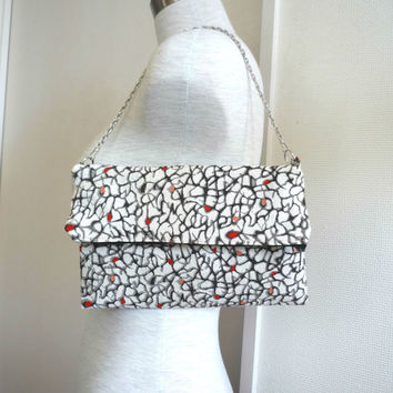 Fold over clutch with abstract red berry / wild rose pattern from vintage silk, silver chain shoulder purse silk kimono, Japanese fabric