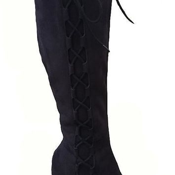 Zoe Black Suede Side Lace Up Boot