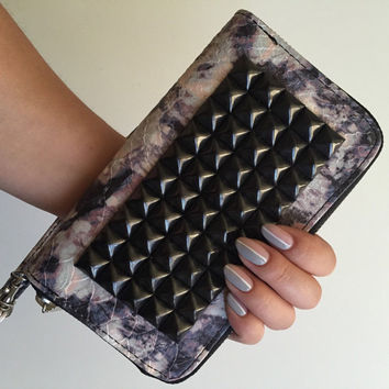 Studded Wallet Clutch - Purple Gray Faux Snakeskin - Large Black or Silver Studs