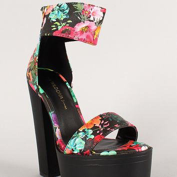 Wild Diva Lounge Floral Open Toe Chunky from URBANOG