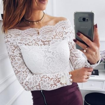 Spring Autumn Women New Hollow Out Flower Lace Blouse Sexy Slash Neck off Shoulder Ladies Shirts Elegant Party Female Tops