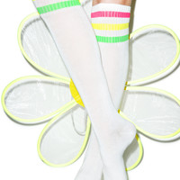 Hot Steps Turn Neon Knee High Socks White One