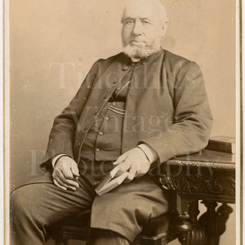 Cabinet Card Photo Victorian Bald Bearded Man, Smart Suit, Holding Book Seated Portrait - R W Morris of Chester Cheshire - Antique Photo