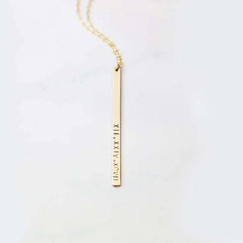 Vertical bar Roman Numeral Necklace // Personalized Long Name bar necklace //long necklace EP011