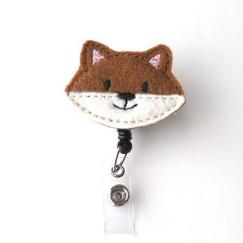 Brown Fox - Animal Badge Reels - Peds Badge Clip - Cute Name Badge Holder - Unique Badge Holder - Felt Badge Reel - RN Badge - BadgeBlooms