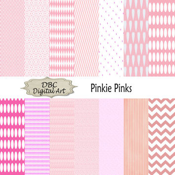 Pink polka dots checkerboards hearts strips chevron stars geraniums triangle digital paper scrapbook paper scrapbooking backgrounds