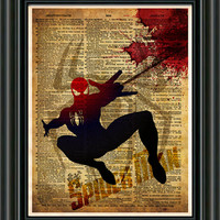 Spider Man - Justice League - Vintage pop art print  - Retro Super Hero Art - Dictionary print art