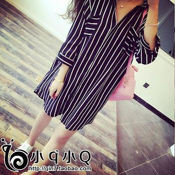 Vertical Striped Chiffon Maternity Shirts Pregnant Blouse Casual Loose Maternity Blouses for Pregnant Women Pregnancy Clothes