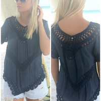 Sandcastle Crochet Detail Navy Top