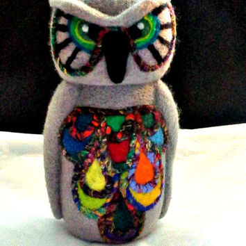 Small Owl Needle Felted Soft Sculpture