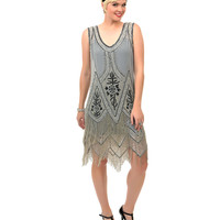 Grey & Black Embroidered Somerset Flapper Dress