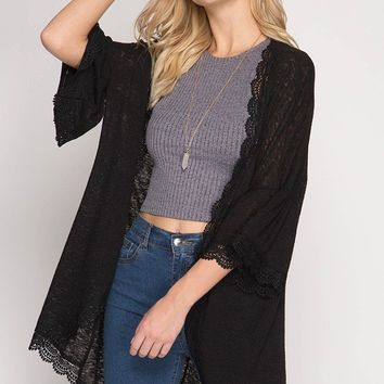 3/4 Ruffled Sleeve Batwing Open Cardigan with Lace Trim - Black
